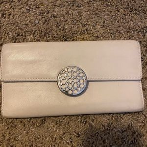Coach white leather used wallet